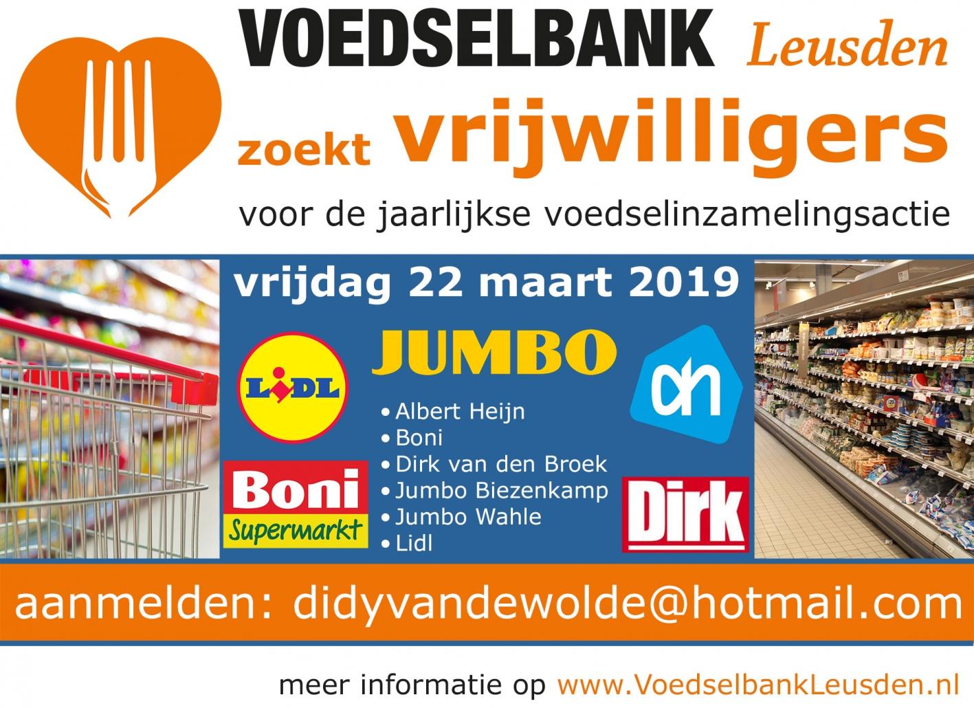 voedselbank Leusden zoekt vrijwilligers om voedsel in te zamelen.