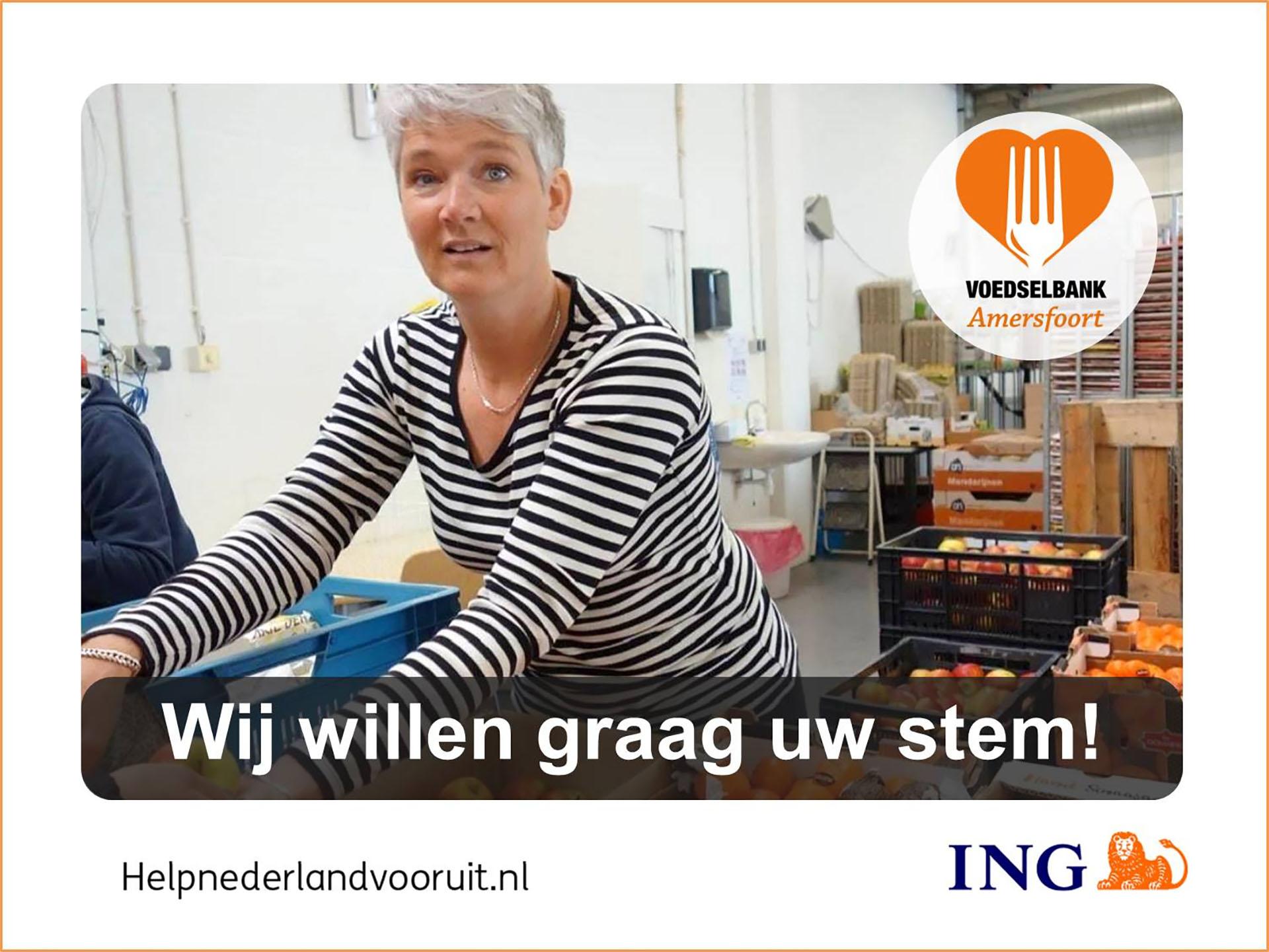 Door uw stem uit te brengen, helpt u de Voedselbank Amersfoort.