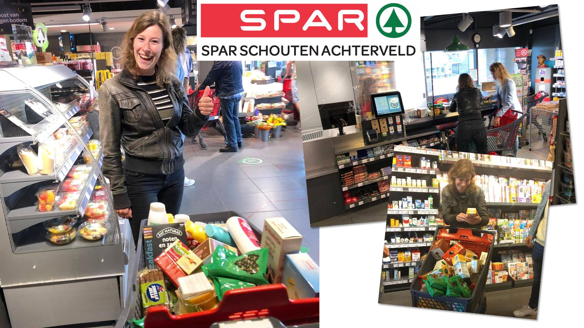 """Melanie Kok doneert haar """"1 minuut gratis winkelen in de SPAR"""" aan voedselbank Leusden"""